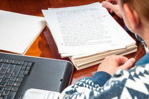 Manuscript being edited for the proper book manuscript format