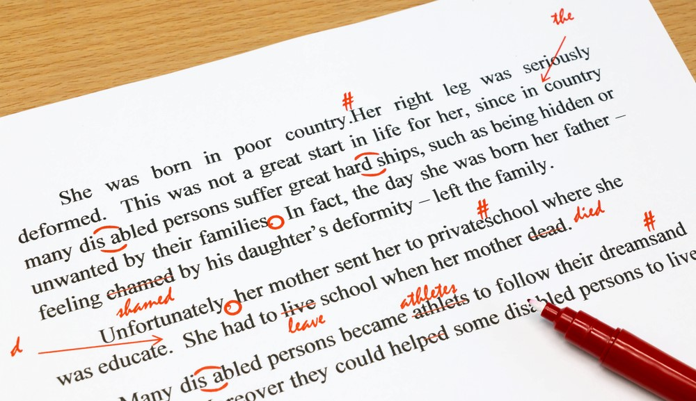Proofreading marks for self-publishing book printing.