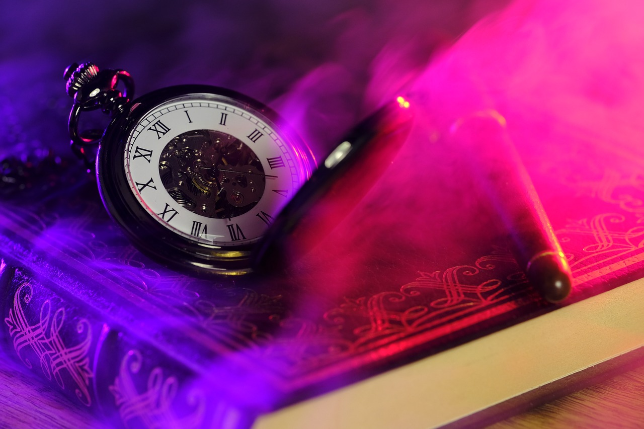 A pocket watch laying on a book that used self-publishing services